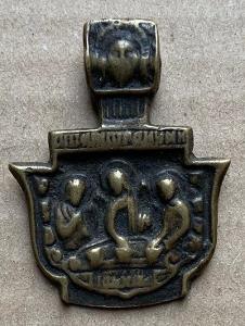 Stará ikona 18 - 19 st. Napoleonika Ježíš svátostka svatý medailon TOP