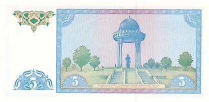 Uzbekistán 5 sum UNC