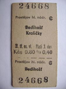 Jízdenka ČSD: Prostějov - Bedihošť, Kraličky 1966