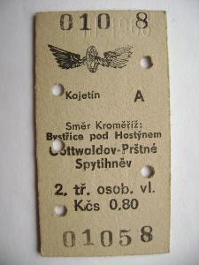 Jízdenka ČSD: Kojetín - Kroměříž. Bystřice p/H, Gottwaldov-Prštné 1966