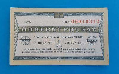 Tuzex - bon - 1 Kčs, I/1989 . . . . . . . *5519*