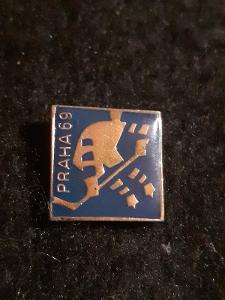Odznak MS V LEDNÍM HOKEJI PRAHA 1969, modrá varianta