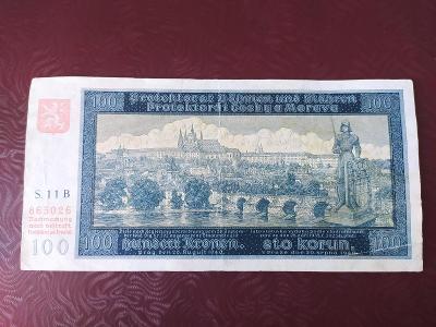 100 KORUN 1940,  NEPERFOROVANE 1. VYDÁNÍ, VZÁCNĚJŠÍ SERIE B 11