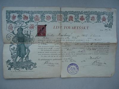 Kolín...List  Tovaryšský..V. Kadavý....malíř...1932..