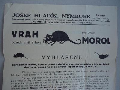 Nymburk - J.Hladík - MOROL , VRAH  polních myší a krys