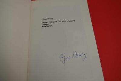 Podpis Egon Bondy - v knize Básně 1988 aneb Čas spíše chmurný