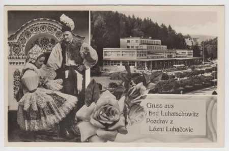 Lázně Luhačovice, muž se ženou v krojích