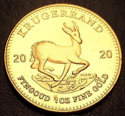 Jižní Afrika,1 Krugerrand 2020 ,1 unce čistého zlata, pozlacená kopie