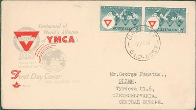 22B9 Austrálie obálka 1. dne, Y.M.C.A., na J. Faustus Plzeň