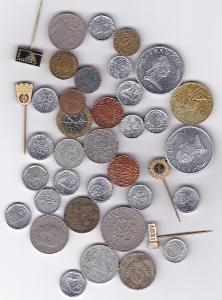 Konvolut - mince, žetony, odznaky