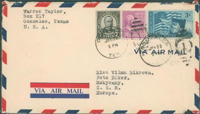 20B262 Letecký dopis Gonzales Texas - Rokycany, obrovská frankatura R!