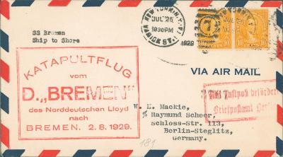 20B264 Letecký dopis USA - Berlín, KATAPULTFLUG Bremen - vzácné RR!