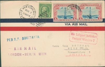 20B267 Dopis New York - Vídeň, letec.+ lodní doprava S.S. Aquitania RR