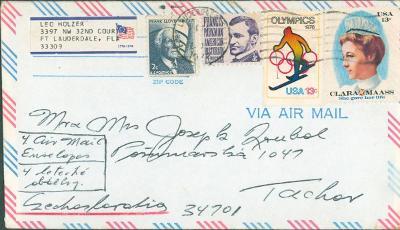 20B271 Letecký dopis USA Fort Lauderdale - Roubal Tachov, dekorativní