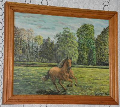 Starý obraz - Kůň - olej na plátně