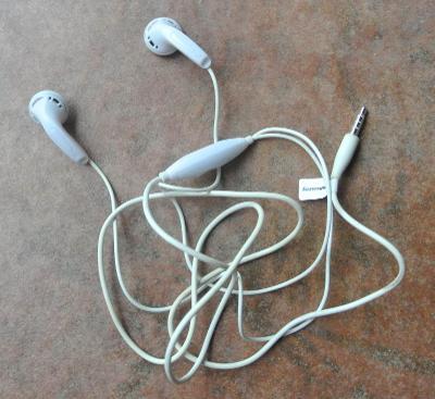 Sluchátka do uší LENOVO s mikrofonem, bílá, jack 3,5 mm