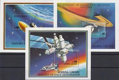 Sierra Leone ** Mi.Bl.104-106  Výzkum vesmíru  (aršík)