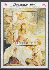 Sv. Vincent ** Mi.Bl.108 Vánoce, Rubens, alegorie Věčnosti