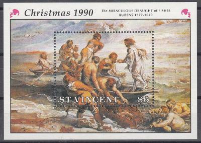 Sv. Vincent ** Mi.Bl.111 Vánoce, Rubens, Zázračný rybolov