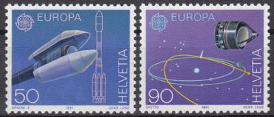 Švýcarsko ** Mi.1444-45 Europa, výzkum vesmíru