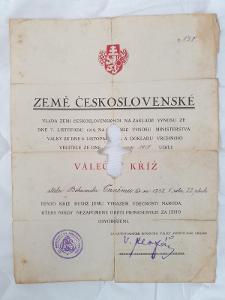 Dekrét Čs. vojnového kríža 1918