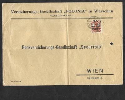 Dopis z Varšavy do Vídně , známka s přetiskem Poczta Polska a Gen. Gou