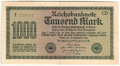 1000 Mark 1922, série T - Německo