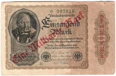 1000 Mark 1922, série 21, přetisk Eine Milliarde Mark ! - Německo