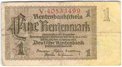 1 Rentenmark 1937, série V - Německo