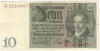 10 Reichsmark 1929, série K - Německo