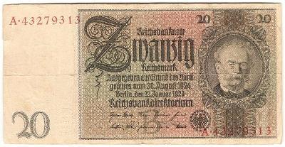 20 Reichsmark 1929, série A - Německo