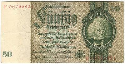 50 Reichsmark 1933, série F - Německo