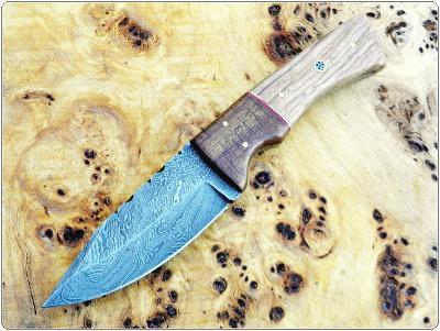 194/ Damaškový lovecký nůž. Rucni vyroba.
