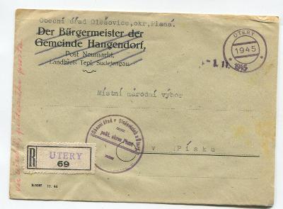 ÚTERÝ, Tachov-R dopis s R nálepkou a s revol. razítkem 1945, Olešovice