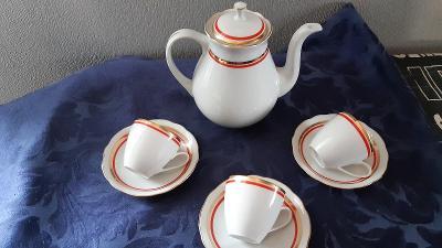 Retro porcelánový kávový set s konvicí Bohemia