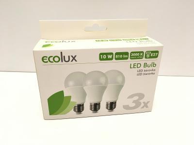 Sada tří úsporných LED žárovek, EcoLux, teplá bílá celá sada od koruny