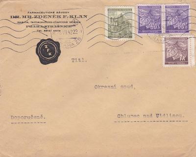 Firemní R- Praha 1942, farmacie-Chlumec n.C.,bez přích. (Hradec Král.)