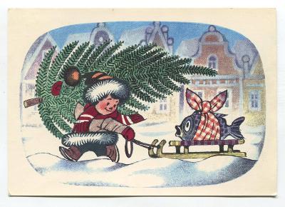 Z. MILER - Kluk veze kapra na saních, vánoce, ORBIS