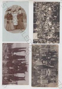10x Skupinové foto, žena, šaty, klobouk, kožešina,