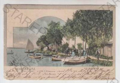 Neměcko, Neusterlitz, loď, řeka, plachetnice, kolo