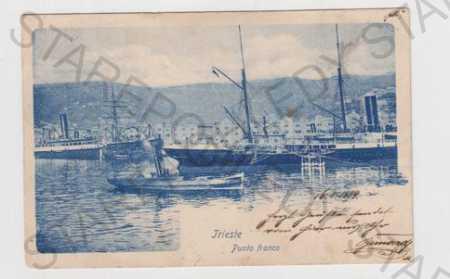 Itálie, Trieste, Punto franco, přístav, loď, moře,