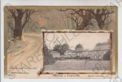 Podřipsko (Litoměřice), zámek Veltrusy, sníh, zimn