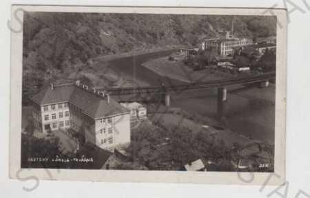 Roztoky (Praha - západ), škola, továrna, řeka, mos