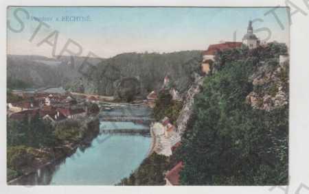 Bechyně (Tábor), částečný záběr města, řeka, most,