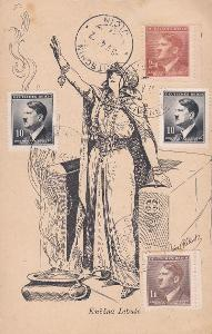 R- Slivenec 3.5.1945, Praha - Jičín, s přích. 5.5.1945, podací lístek