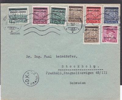 Praha 31.8.1939, přetisky - Švédsko, Stockholm, bez přích., jen D.K.