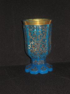Pohár (sklenice) Biedermeier, sklo modrý opalín