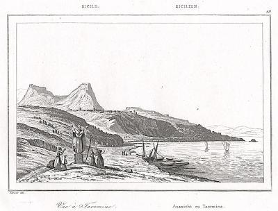 Taormina, Le Bas, oceloryt 1840