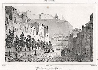 Cagliari Sardinie, Le Bas, oceloryt 1840