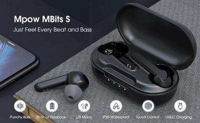 MPOW MBITS S parádní bluetooth sluchátka, nepoužité, výdrž 35 hodin